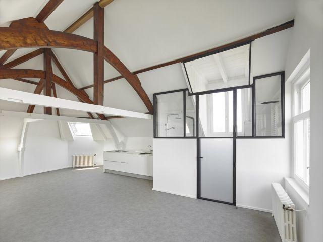 Stalen deur en wand met glas voor de doucheruimte in dit appartement in Dordrecht.