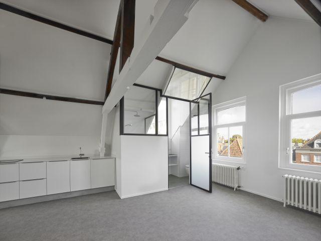 Stalen deur en roomdivider maakt de doucheruimte in een appartement in het centrum van Dordrecht.