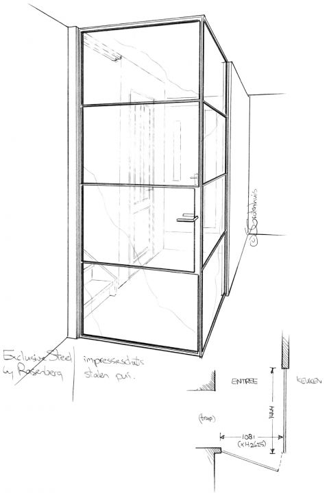 Ontwerpschets voor scheiding tussen woonkamer en hal door hoekwand van staal en glas. Project in Voorhout.
